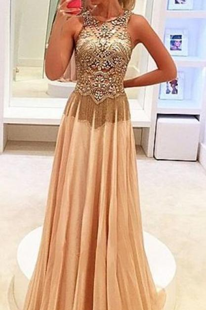 Beaded Embellished Crew Neck Sleeveless Floor Length Chiffon A-Line Formal Dress, Prom Dress