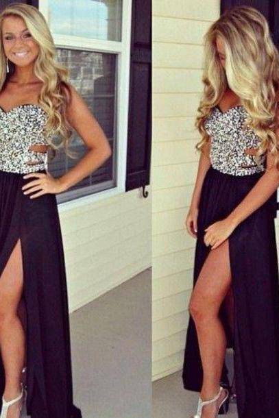 Sequins Sweetheart Floor Length Chiffon A-Line Formal Dress Featuring Slit, Prom Dress