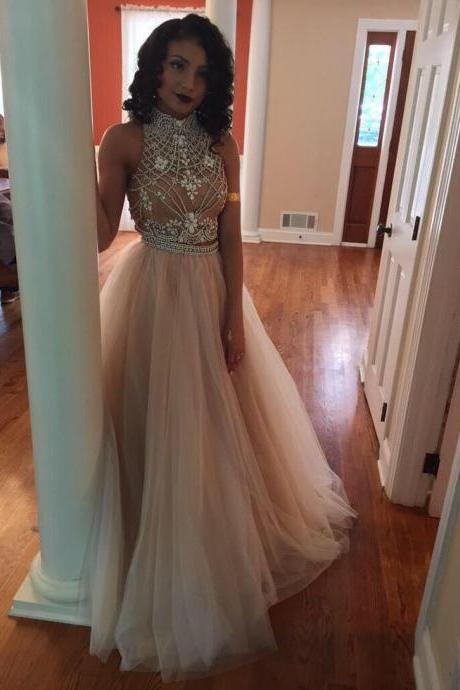 High Neck Beaded Top Long Tulle Prom Dress, Tulle Formal Evening Dress