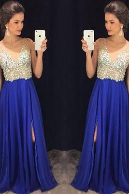 Charming Prom Dress,A-Line Prom Dress,Chiffon Prom Dress,V-Neck Prom Dress,Beading Evening Dress