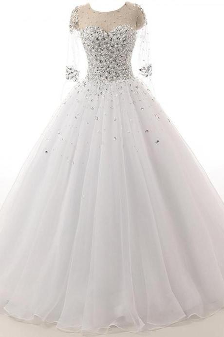 Sheer Crystal Beaded Ball Gown Wedding Dress with Long Sleeves