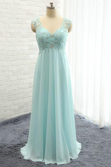 V-Neck Sleeveless Beaded Chiffon A-line Floor-Length Prom Dress, Evening Dress Featuring Open Back