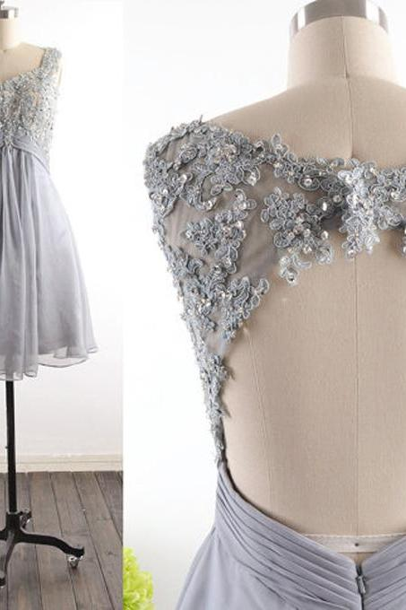 Sleeveless Lace Appliqués Short Homecoming Dress, Cocktail Dress, Party Dress