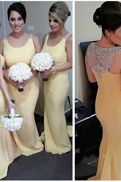 Bridesmaid Dress, Long Bridesmaid Dress, Beautiful Bridesmaid Dress,Yellow Bridesmaid Dress, Mermaid Bridesmaid Dress,Scoop prom Dress,Beaded Bridesmaid Dress,Wedding Party Dress
