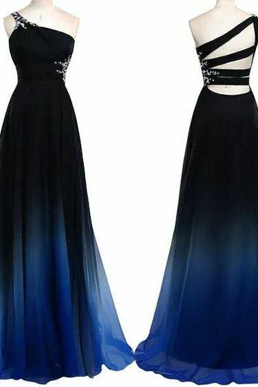 Charming Prom Dress,One-Shoulder Prom Dress,Gradient Color Prom Dress,Chiffon Prom Dress,A-Line Evening Dress