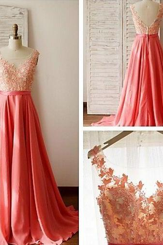 Charming Prom Dress,O-Neck Prom Dress,Appliques Prom Dress,Chiffon Prom Dress,A-Line Evening Dress