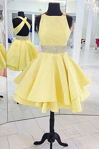 Beauty Graduation Dress,Short Prom Dress,Satin Homecoming Dress,Beading Prom Dress
