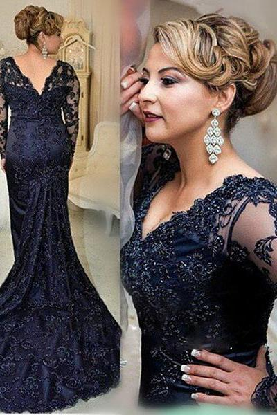 Prom Dress,Prom Dresses,Long Prom Dresses,Navy Prom Dresses,Mermaid Party Dresses,Long Formal Gowns,Evening Dresses for Women,Prom Dresses 2016,Long Sleeves Prom Dresses,V-neck Prom Dresses,Mother Dress for Wedding