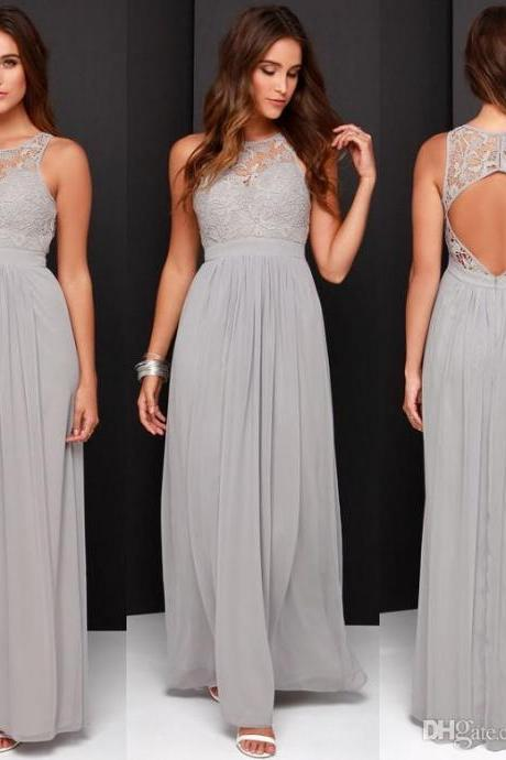 A-line Bridesmaid Dresses,Grey Bridesmaid Dresses,Chiffon Bridesmaid Dresses,Long Bridesmaid Dresses,Simple Bridesmaid Dresses,Chiffon Prom Dresses,Backless Bridesmaid Dresses,Chiffon Evening Dresses,Grey Chiffon Formal Gowns
