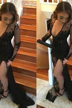 Black Sexy Split Front Sheath/Column Prom Dresses 2017