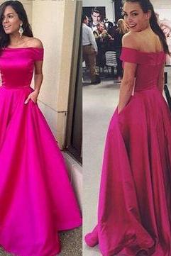 A-Line Off-the-Shoulder Sleeveless Natural Zipper Satin Prom Dresses 2017