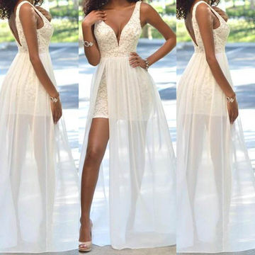 White Appliques A-line Tulle Prom Dresses 2017