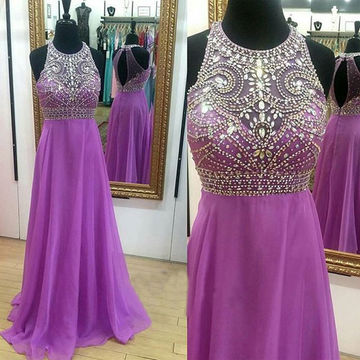 Crystal Detailing A-line Chiffon Prom Dresses 2017